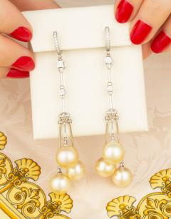 Ella Gafter Ella Gafter Golden Pearl and Diamond Drop Earrings - 1172307