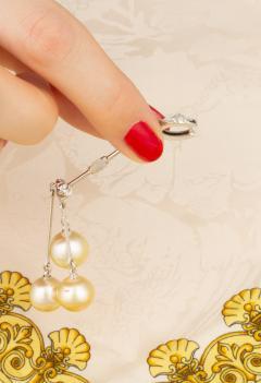 Ella Gafter Ella Gafter Golden Pearl and Diamond Drop Earrings - 1172308