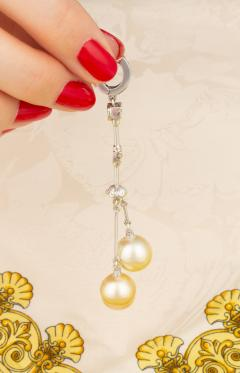 Ella Gafter Ella Gafter Golden Pearl and Diamond Drop Earrings - 1172309