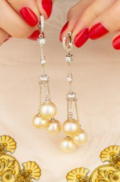 Ella Gafter Ella Gafter Golden Pearl and Diamond Drop Earrings - 1172310