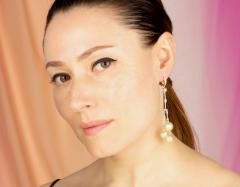 Ella Gafter Ella Gafter Golden Pearl and Diamond Drop Earrings - 1172312