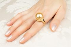 Ella Gafter Ella Gafter Golden Pearl and Diamond Ring Onyx - 1100069