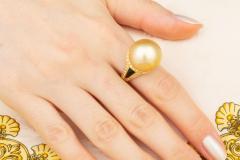 Ella Gafter Ella Gafter Golden Pearl and Diamond Ring Onyx - 1100072