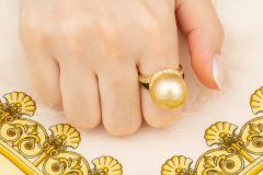Ella Gafter Ella Gafter Golden Pearl and Diamond Ring Onyx - 1100073