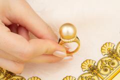 Ella Gafter Ella Gafter Golden Pearl and Diamond Ring Onyx - 1100076