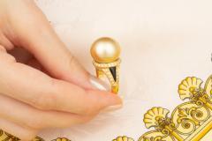 Ella Gafter Ella Gafter Golden Pearl and Diamond Ring Onyx - 1100077