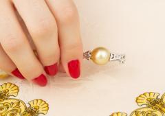 Ella Gafter Ella Gafter Golden South Sea Pearl Diamond Bracelet - 1009773