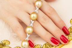 Ella Gafter Ella Gafter Golden South Sea Pearl Diamond Bracelet - 1009774