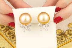 Ella Gafter Ella Gafter Golden South Sea Pearl and Diamond Bow Earrings - 1185325