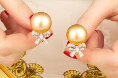 Ella Gafter Ella Gafter Golden South Sea Pearl and Diamond Bow Earrings - 1185327
