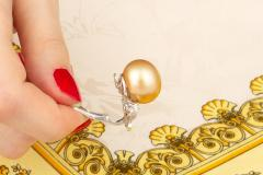Ella Gafter Ella Gafter Golden South Sea Pearl and Diamond Bow Earrings - 1185329