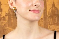 Ella Gafter Ella Gafter Golden South Sea Pearl and Diamond Bow Earrings - 1185330