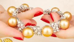 Ella Gafter Ella Gafter Golden South Sea Pearl and Diamond Bracelet - 1009680