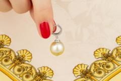 Ella Gafter Ella Gafter Golden South Sea Pearl and Diamond Drop Earrings - 1194507
