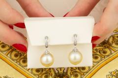 Ella Gafter Ella Gafter Golden South Sea Pearl and Diamond Drop Earrings - 1194509
