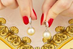 Ella Gafter Ella Gafter Golden South Sea Pearl and Diamond Drop Earrings - 1194510
