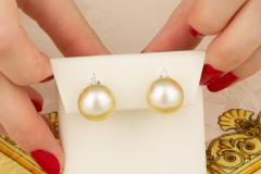 Ella Gafter Ella Gafter Golden South Sea Pearl and Diamond Stud Earrings - 1195453