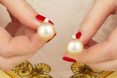 Ella Gafter Ella Gafter Golden South Sea Pearl and Diamond Stud Earrings - 1195454