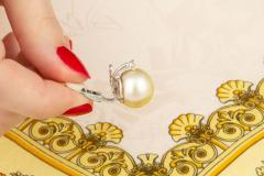 Ella Gafter Ella Gafter Golden South Sea Pearl and Diamond Stud Earrings - 1195455