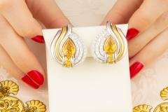Ella Gafter Ella Gafter Golden Yellow Sapphire and Diamond Clip On Earrings - 1142220