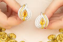 Ella Gafter Ella Gafter Golden Yellow Sapphire and Diamond Clip On Earrings - 1142223