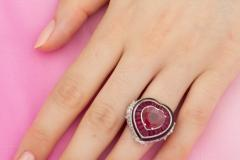 Ella Gafter Ella Gafter Heart Shape Ruby and Diamond Ring with Onyx - 1113797