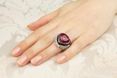 Ella Gafter Ella Gafter Heart Shape Ruby and Diamond Ring with Onyx - 1113800
