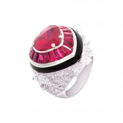 Ella Gafter Ella Gafter Heart Shape Ruby and Diamond Ring with Onyx - 1123019