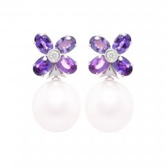 Ella Gafter Ella Gafter Lavender Sapphire South Sea Pearl Clip on Flower Earrings - 1196180