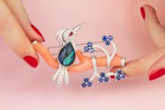 Ella Gafter Ella Gafter Love Bird Diamond Brooch Pin with Coral and Blue Sapphire - 1051564