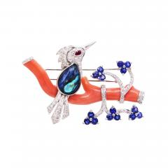 Ella Gafter Ella Gafter Love Bird Diamond Brooch Pin with Coral and Blue Sapphire - 1055999