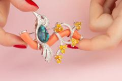 Ella Gafter Ella Gafter Love Bird Diamond Brooch Pin with Coral and Yellow Sapphire - 1051578