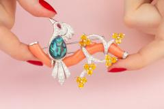 Ella Gafter Ella Gafter Love Bird Diamond Brooch Pin with Coral and Yellow Sapphire - 1051581