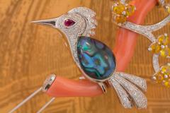 Ella Gafter Ella Gafter Love Bird Diamond Brooch Pin with Coral and Yellow Sapphire - 1051588