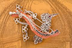 Ella Gafter Ella Gafter Love Bird Diamond Brooch Pin with Coral and Yellow Sapphire - 1051598