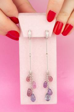Ella Gafter Ella Gafter Multi Color Sapphire and Diamond Drop Earrings - 1015627