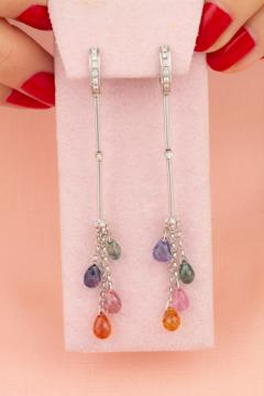 Ella Gafter Ella Gafter Multicolor Sapphire and Diamond Drop Earrings - 1015618