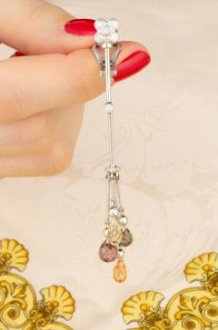 Ella Gafter Ella Gafter Multicolor Sapphire and Diamond Drop Earrings - 1209692