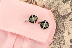 Ella Gafter Ella Gafter Onyx and Diamond Cufflinks Green Sapphire - 1030085