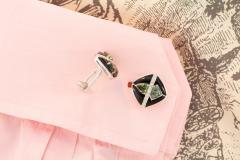 Ella Gafter Ella Gafter Onyx and Diamond Cufflinks Green Sapphire - 1030086