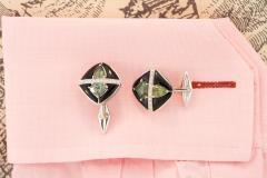 Ella Gafter Ella Gafter Onyx and Diamond Cufflinks Green Sapphire - 1030088