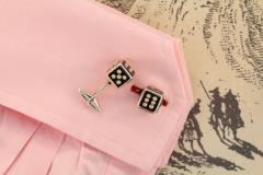 Ella Gafter Ella Gafter Onyx and Diamond Dice Cufflinks - 1030077