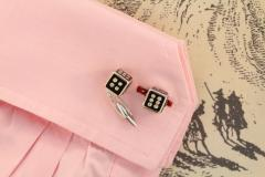 Ella Gafter Ella Gafter Onyx and Diamond Dice Cufflinks - 1030083