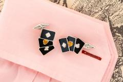 Ella Gafter Ella Gafter Onyx and Diamond Playing Card Cufflinks - 1030071