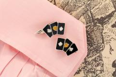 Ella Gafter Ella Gafter Onyx and Diamond Playing Card Cufflinks - 1030072
