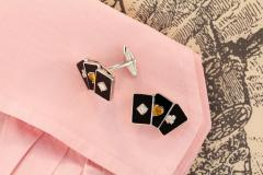Ella Gafter Ella Gafter Onyx and Diamond Playing Card Cufflinks - 1030073