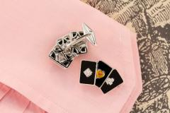 Ella Gafter Ella Gafter Onyx and Diamond Playing Card Cufflinks - 1030074