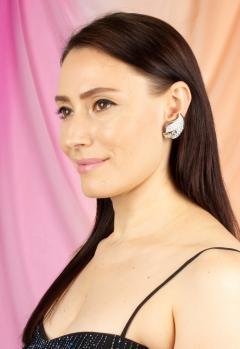 Ella Gafter Ella Gafter Pave Diamond Earrings White Gold Flower Leaf Clip On - 1185289