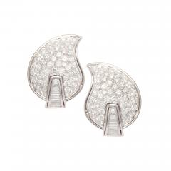 Ella Gafter Ella Gafter Pave Diamond Earrings White Gold Flower Leaf Clip On - 1189598