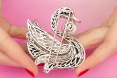 Ella Gafter Ella Gafter Pearl Diamond Swan Brooch Pin with Onyx Coral - 1042853
